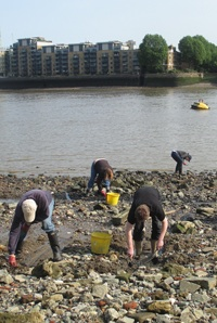People digging on the Thames foreshore